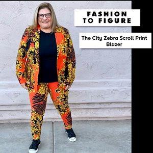 """Fashion to Figure """"The City"""" Zebra Scroll Blazer2X"""